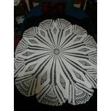 Mantel Redondo Tejido A Mano En Crochet Color Blanco