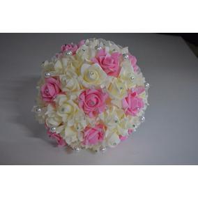 Ramo De Novia Xv Años Ivory Y Rosa Cristales Grande