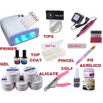 Kit Unhas Gel Acrygel Fibra + Cabine + Lixa + Completo Fibra