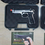Airsoft Gbb Sr-92 A Gas Inox Full Metal Com Case