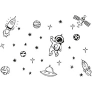 Kit Adesivos Parede Astronauta Estrela Lua Foguete Estrelas