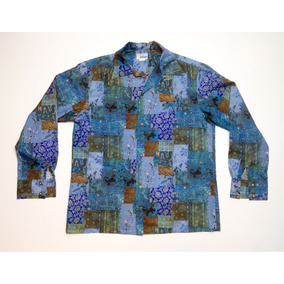 Camisa Hawaiana Tropical Floreada Surf M/ Larga Talle Xl 646