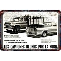 Carteles Antiguos De Chapa Gruesa 60x40cm Ford Camion Au-019