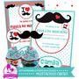 Kit Imprimible Mostachos Circus Invitación Cumpleaños Candy