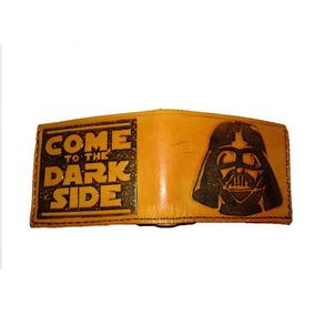 Star Wars Billetera Artesanal De Cuero Grabado Personalizado