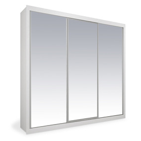 Armário 3 Portas De Correr Espelhadas, Branco, Premium Plus