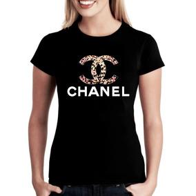 Camiseta Camisa Baby Look Feminino Chanel Floral Marcas