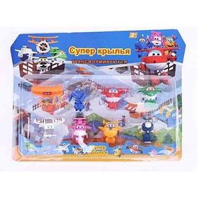 Kit Com 8 Super Wings Mini Aviões Discovery Kids Transformer