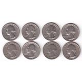 Coleção 8 Oito Moedas De 1 Quarter De Dólar Vários Anos