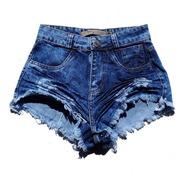 Shorts Jeans Escuro Feminino Cintura Alta Desfiado St006