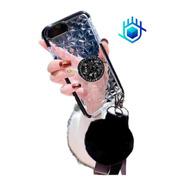 Case iPhone Huawei Galaxy Diamantes 3d Pompon+ Colguije+ Soporte Goma Charm Peluche Relieve Hombre Mujer Dama Funda Moda