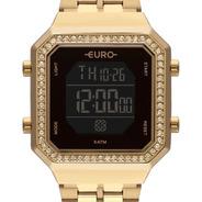 Relógio Feminino Digital Dourado Aço Eubjk032ab/4p Original