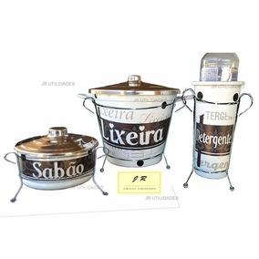 Kit Pia Jogo De Lata C/suporte Lixeira Detergente Sabão Vaca