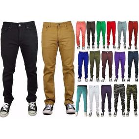 Kit 3 Calça Masculina Colorida Lycra Slim Jeans Sarja