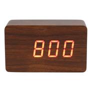Relógio De Mesa Tipo Madeira Digital Pequeno