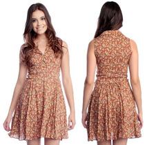 Vestido Feminino Viscose Estampado Floral Com Botões S/ Bojo