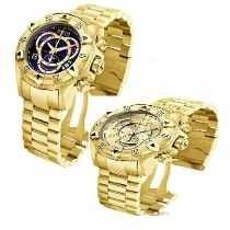 Kit 2 Relógio Masculino Azul E Dourado Na Caixa
