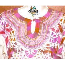 Exclusiva Blusa De Chiapas Bordada A Mano / Talla L / Manta