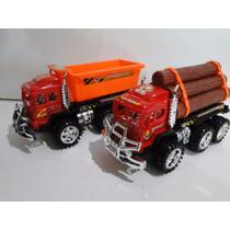 Kit 02 Caminhões Brinquedo Caçamba E Toras Com 29cm Bitrem