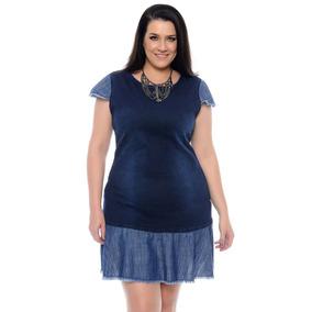 Vestido Feminino Jeans Plus Size Bicolor Tamanhos Grande