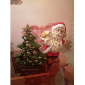 Santa Claus Y Arbol Ceramica Para Navidad