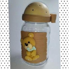 Pote Ursinho - Bebê - Pote De Vidro + Biscuit