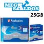 Megasaldos Blu-ray Bd-r 25gb 4x Verbatim 5 Unidades Con Caja