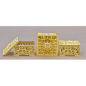 Kit 12 Mini Porta Jóias Caixa Dourada Lembrancinhas Lp6294