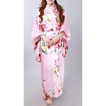 Kimono/quimono Japonês Rosa/floral Com Obi A Pronta Entrega!