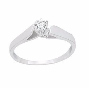 Anillo De Compromiso Oro Blanco 14k Diamante 20 Puntos