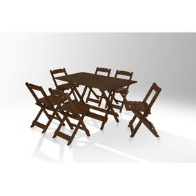 Jogo De Mesa 120cm X 70cm E 6 Cadeiras Area De Lazer Imbuia