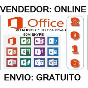 Office 365 (2016) + Onedrive 1tb Skype 60m 1 Pc Ou Mac 1 Ano