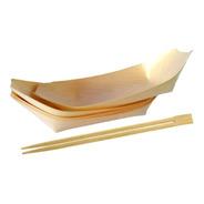 Set Sushi Bandejas Barco Bambú 10 Un. + Palitos 10 Pares