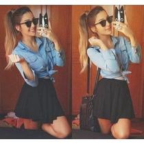 Camisa Jeans Cropped Amarrar Ombro Vazado + Saia Brinde