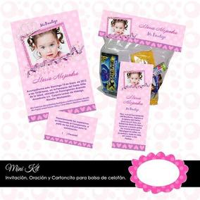 Kit Imprimible Bautizo Foto Niña Original Elegante Invitació