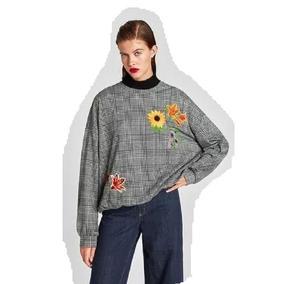 Sweater Buzo Zara Escoces Bordado Flores 2e68bfc16b4e