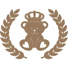 Aplique Painel Parede Urso Rei Príncipe Com Ramos Mdu