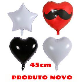 Balão Metalizado Estrela Coração Preto / Branco / Bigode
