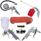 Kit Pistola Pintura 7 Peças Mangueira Engate Compressor Mtx
