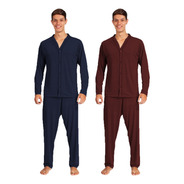 Kit 2 Pijamas Adulto Manga Comprida Calça Masculino Aberto