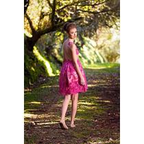 Vestido Curto Rosa Pink Evasê Bordado Em Renda E Tule Legabo