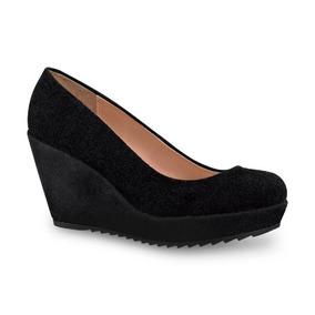 Zapato Negro Piel Tacón Corrido Cuña Wedge Andrea 1073256