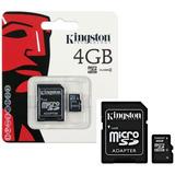 Cartão De Memória Kingston 4 Gb Micro Sd 2x1 Tudo Lacrado
