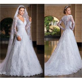 Vestido Com Véu Longo Noiva Lindo Casamento Pronta Entrega