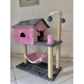 Arranhador De Gato Casa Com Rede Cinza / Rosa Alto Grande