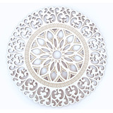 Quadro Mandala Em Mdf Corte Vazado 90 Cm Cor Branca