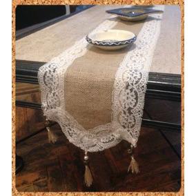 caminos de mesa en lienzo arpillera borlas y puntillas - Caminos De Mesa