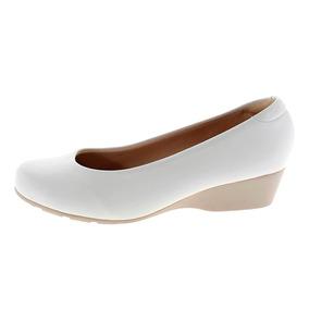 Sapato Sapatilha Branco Noiva Enfermagem Salto Baixo Medio