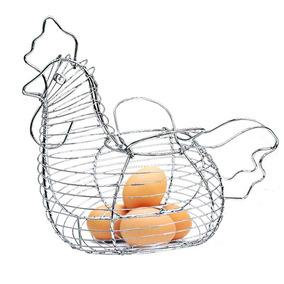 Porta Ovos Galinha Cromado Retrô Aramado
