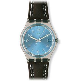 Swatch Azul Choco Azul Dial Negro Plástico Cuero Negro Re...